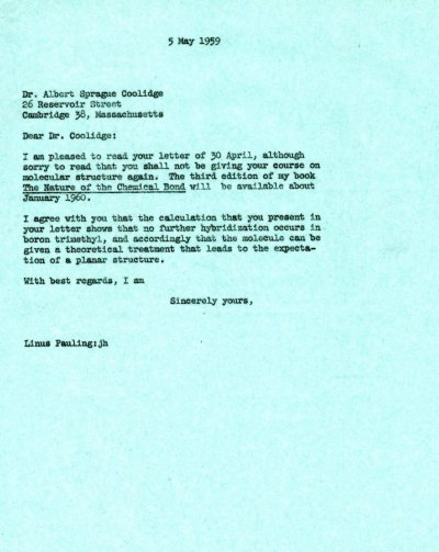 Letter from Linus Pauling to Albert Sprague Coolidge. Page 1. May 5, 1959