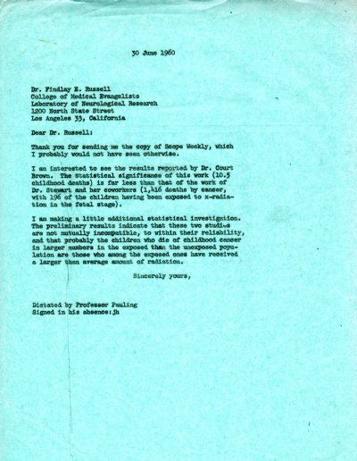 Letter from Linus Pauling to Findlay E. Russell. Page 1. June 30, 1960