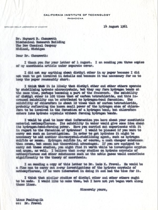 Letter from Linus Pauling to Maynard B. Chenoweth. Page 1. August 14, 1961