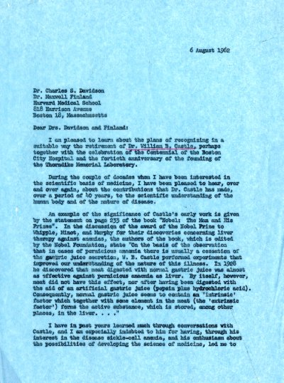 Letter from Linus Pauling to Charles S. Davidson and Maxwell Finland. Page 1. August 6, 1962