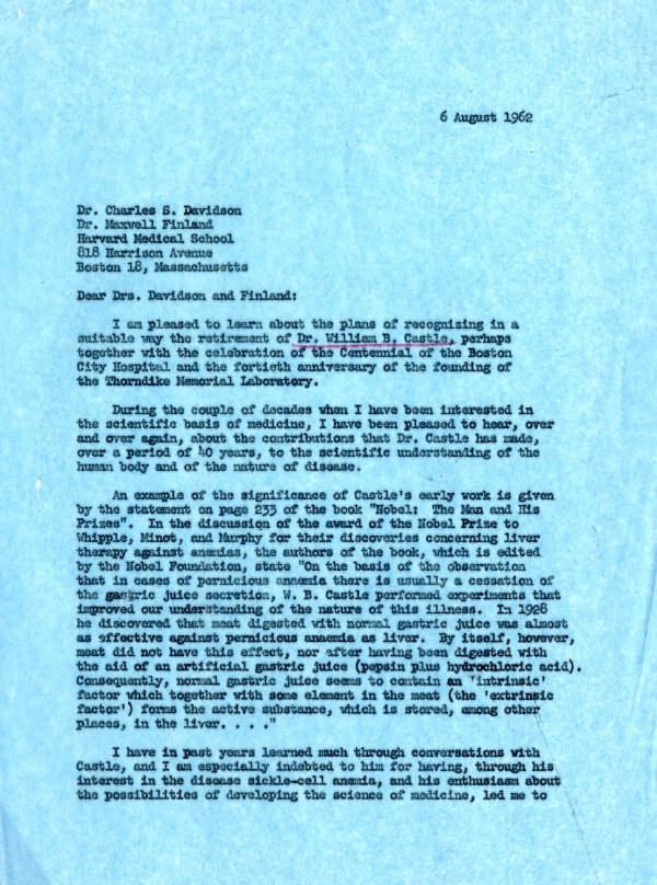 Letter from Linus Pauling to Charles S. Davidson and Maxwell Finland.Page 1. August 6, 1962
