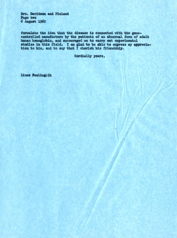 Letter from Linus Pauling to Charles S. Davidson and Maxwell Finland.Page 2. August 6, 1962