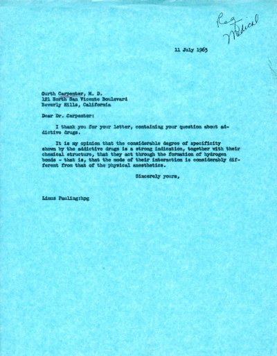 Letter from Linus Pauling to Garth Carpenter.Page 1. July 11, 1963