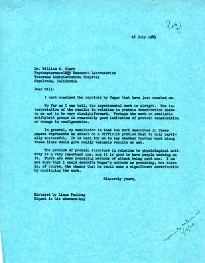 Letter from Linus Pauling to William G. Clark.Page 1. July 16, 1963