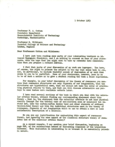 Letter from Linus Pauling to F. A. Cotton and Geoffrey Wilkinson. Page 1. October 1, 1963