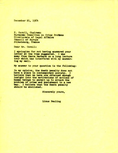 Letter from Linus Pauling to P. Cornil. Page 1. December 21, 1964