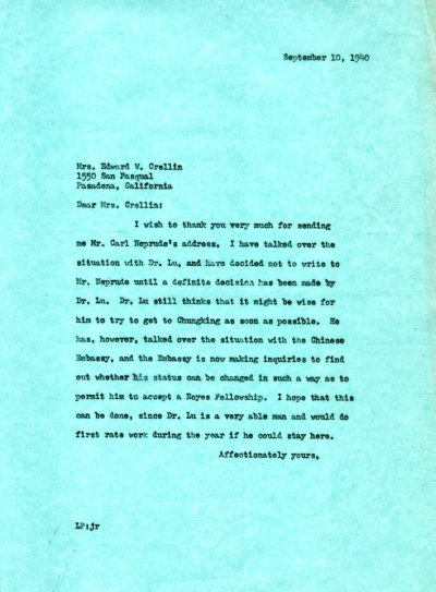 Letter from Linus Pauling to Amy Crellin.Page 1. September 10, 1940