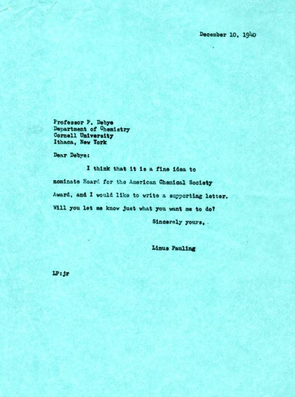 Letter from Linus Pauling to Peter Debye.Page 1. December 10, 1940