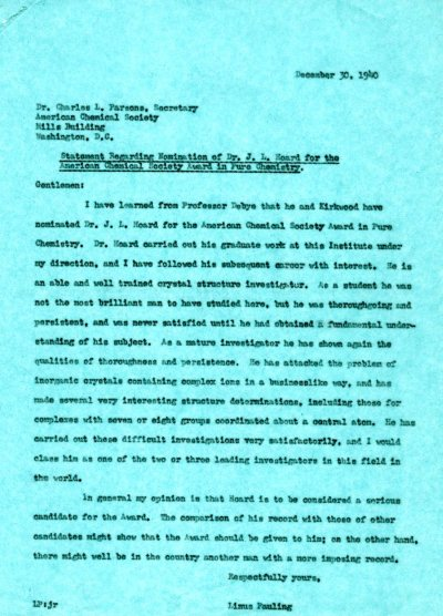 Letter from Linus Pauling to Charles L. Parsons. Page 1. December 30, 1940