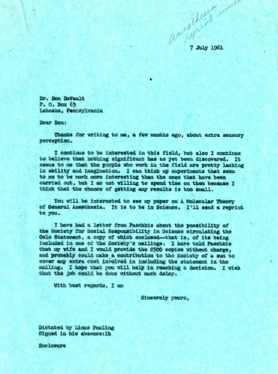Letter from Linus Pauling to Don DeVault. Page 1. July 7, 1961