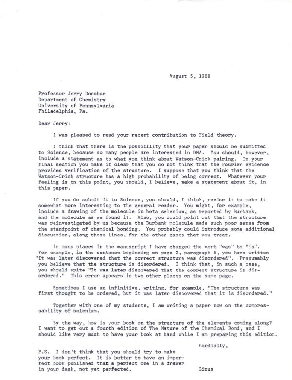 Letter from Linus Pauling to Jerry Donohue.Page 1. August 5, 1968