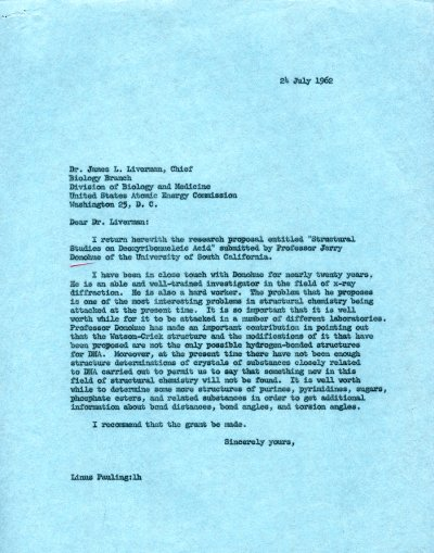 Letter from Linus Pauling to James L. Liverman. Page 1. July 24, 1962