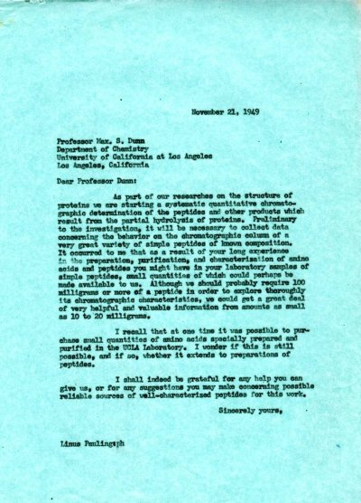 Letter from Linus Pauling to Max S. Dunn. Page 1. November 21, 1949