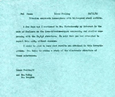 Memorandum from Linus Pauling to Pol Duwez. Page 1. October 31, 1951