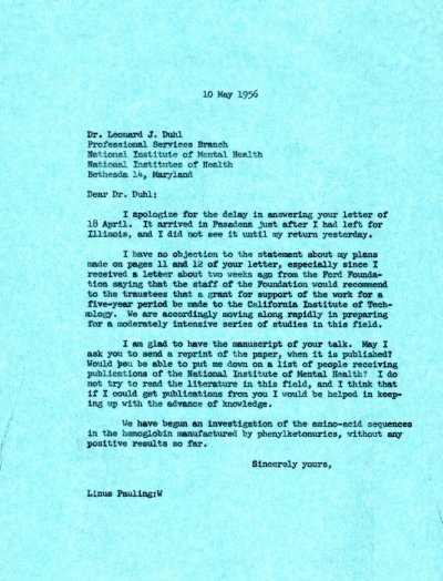Letter from Linus Pauling to Leonard J. Duhl. Page 1. May 10, 1956