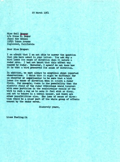Letter from Linus Pauling to Gail Draper. Page 1. March 29, 1961