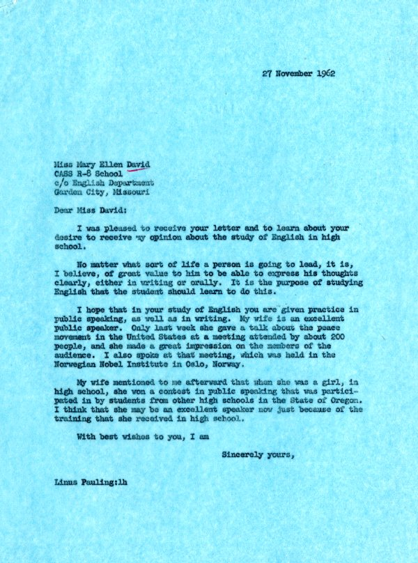Letter from Linus Pauling to Mary Ellen David. Page 1. November 27, 1962