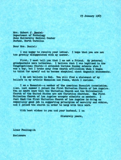 Letter from Linus Pauling to Mrs. Eubert J. Daniel. Page 1. January 23, 1963