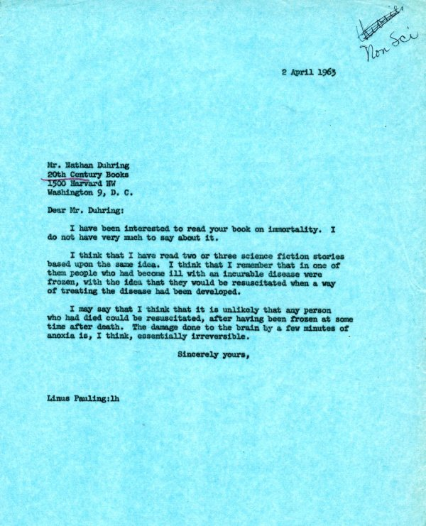 Letter from Linus Pauling to Nathan Duhring.Page 1. April 2, 1963