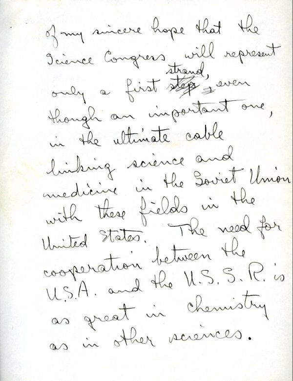 """""""To the Science Congress of the Tenth Anniversary Congress of the National Council of American Soviet Friendship.""""Page 2. November 2, 1943"""
