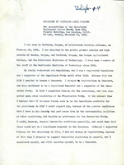 """""""Statement by Professor Linus Pauling.""""Page 1. November 19, 1951"""