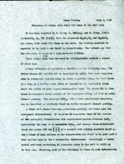 """""""Structure of Alloys with about 160 Atoms in the Unit Cube.""""Page 1. July 2, 1951"""