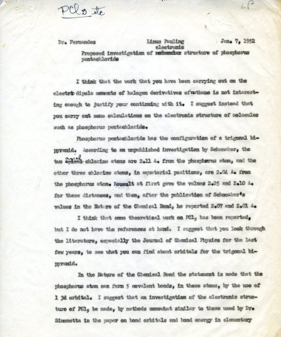 Memorandum from Linus Pauling to J.I. Fernandez Alonso.Page 1. January 7, 1952