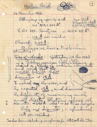 """""""A Proposed Structure for the Nucleic Acids.""""Manuscript - Page 1. November - December 1952"""