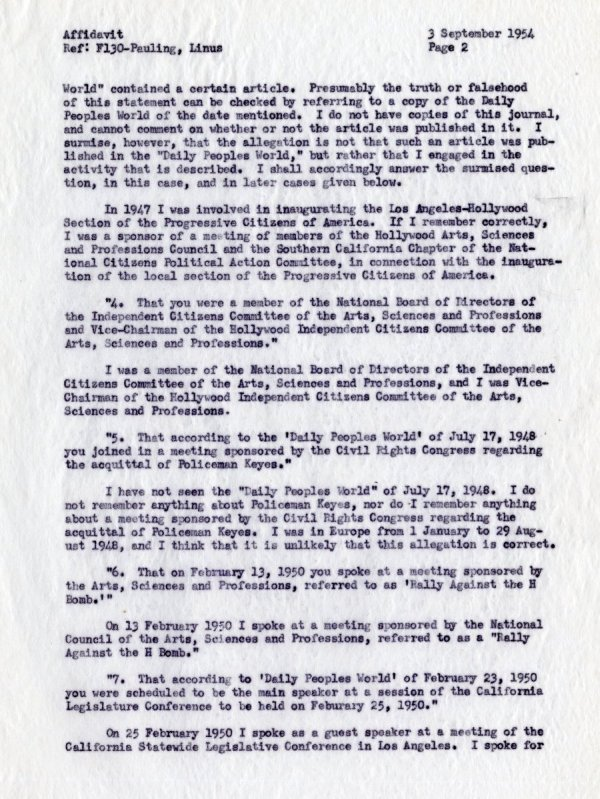 """""""Affidavit by Linus Pauling, With Reference to Allegations Contained in a Letter from the Department of State, dated 19 July 1954."""" [re: passport difficulties]Page 2. September 3, 1954"""