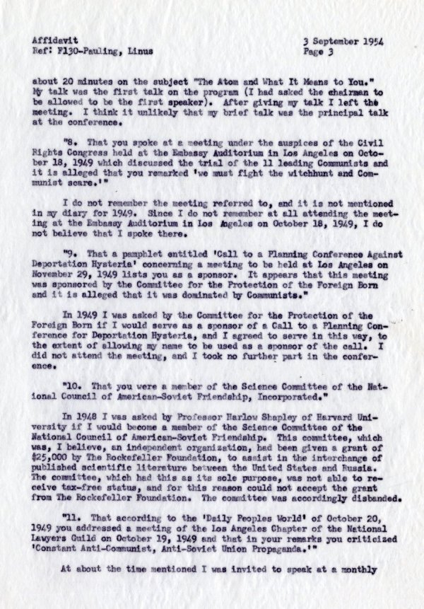 """""""Affidavit by Linus Pauling, With Reference to Allegations Contained in a Letter from the Department of State, dated 19 July 1954."""" [re: passport difficulties]Page 3. September 3, 1954"""