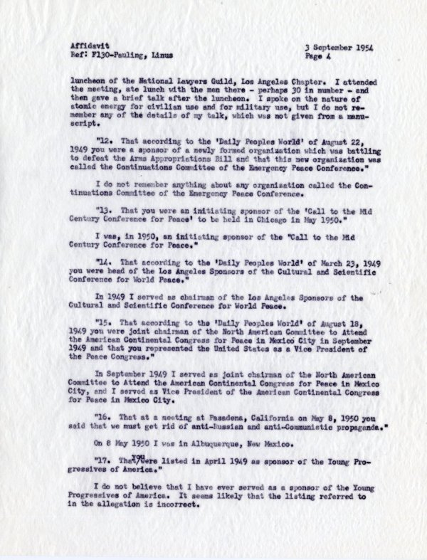 """""""Affidavit by Linus Pauling, With Reference to Allegations Contained in a Letter from the Department of State, dated 19 July 1954."""" [re: passport difficulties]Page 4. September 3, 1954"""