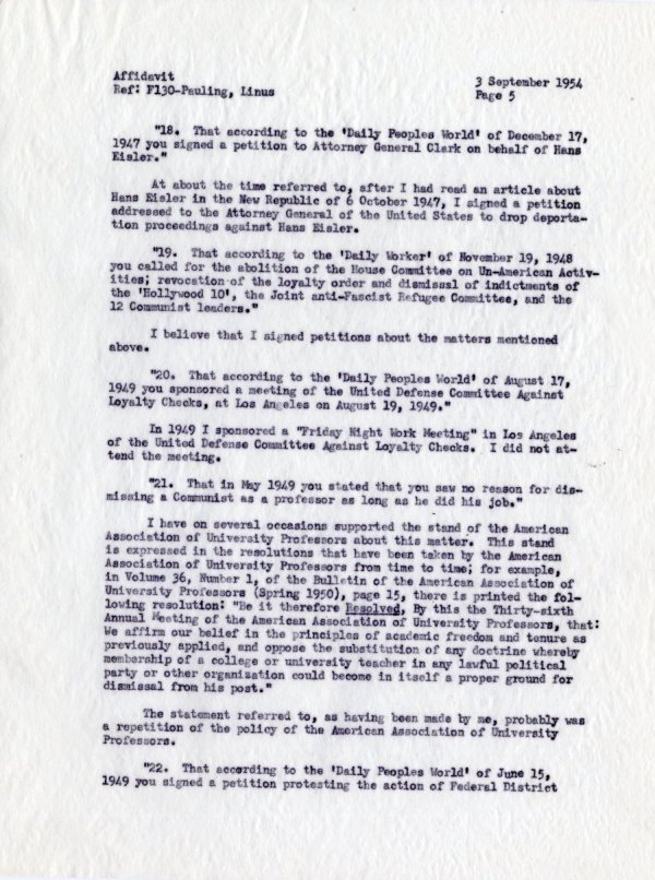 """Affidavit by Linus Pauling, With Reference to Allegations Contained in a Letter from the Department of State, dated 19 July 1954."" [re: passport difficulties] Page 5. September 3, 1954"