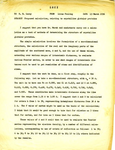 Letter from Linus Pauling to Robert Corey Page 1. March 13, 1956