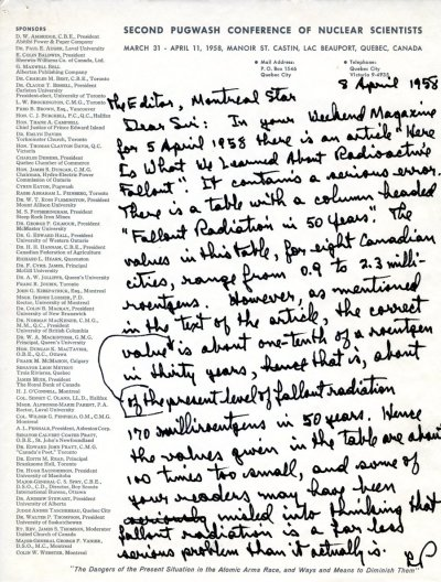 Letter from Linus Pauling to the Editor of the Montreal Star. Page 1. April 8, 1958
