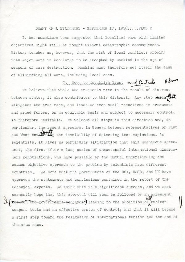 """Draft of a Statement (for Consideration by the Third Pugwash Conference at Kitzbuhel, Austria)"" Page 2. September 17, 1958"