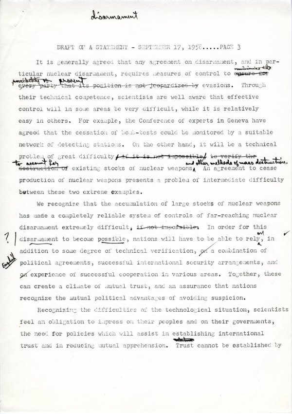 """Draft of a Statement (for Consideration by the Third Pugwash Conference at Kitzbuhel, Austria)"" Page 3. September 17, 1958"