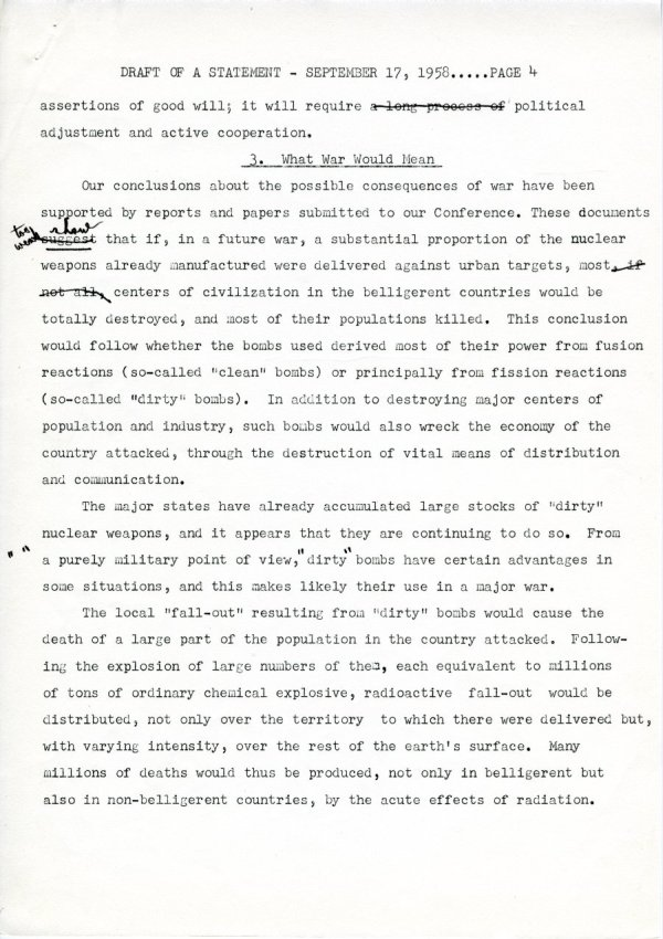 """Draft of a Statement (for Consideration by the Third Pugwash Conference at Kitzbuhel, Austria)"" Page 4. September 17, 1958"