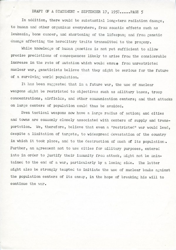 """Draft of a Statement (for Consideration by the Third Pugwash Conference at Kitzbuhel, Austria)"" Page 5. September 17, 1958"