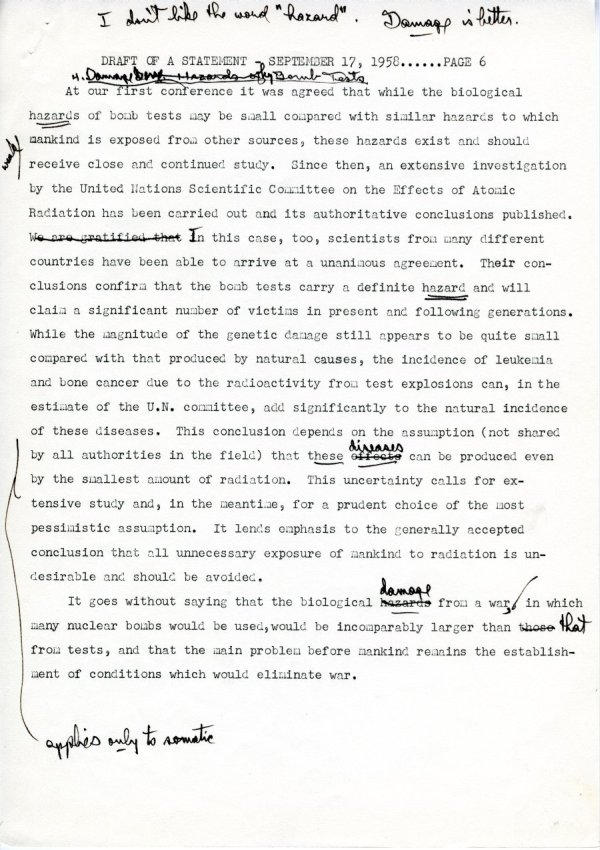 """Draft of a Statement (for Consideration by the Third Pugwash Conference at Kitzbuhel, Austria)"" Page 6. September 17, 1958"