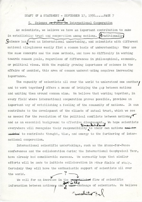 """Draft of a Statement (for Consideration by the Third Pugwash Conference at Kitzbuhel, Austria)"" Page 7. September 17, 1958"