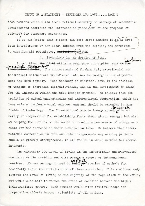 """Draft of a Statement (for Consideration by the Third Pugwash Conference at Kitzbuhel, Austria)"" Page 8. September 17, 1958"