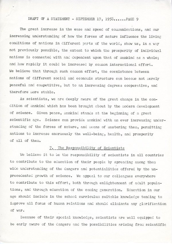 """Draft of a Statement (for Consideration by the Third Pugwash Conference at Kitzbuhel, Austria)"" Page 9. September 17, 1958"