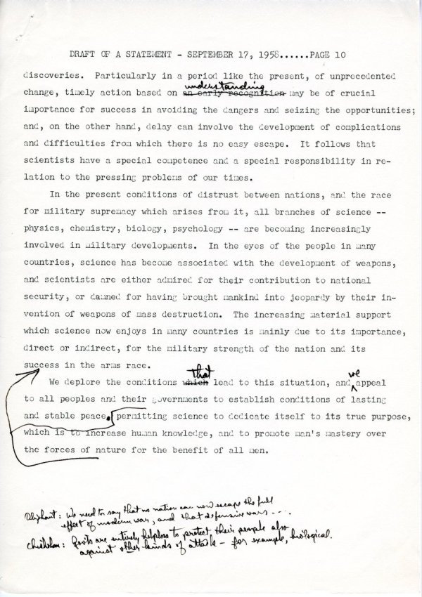 """Draft of a Statement (for Consideration by the Third Pugwash Conference at Kitzbuhel, Austria)"" Page 10. September 17, 1958"