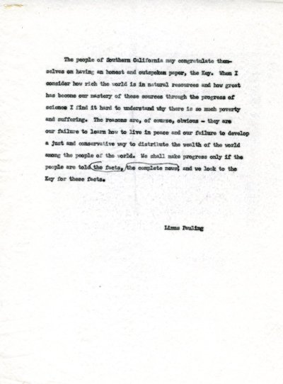 "No Title. [re: support notice for ""The Key"" newspaper] Page 1. January 1959"