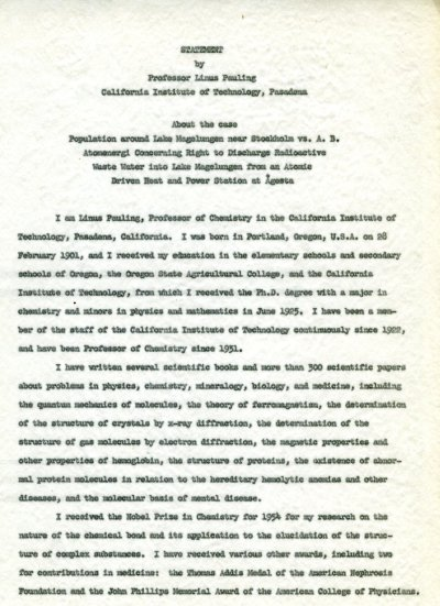 """Statement by Professor Linus Pauling."" Page 1. May 13, 1960"