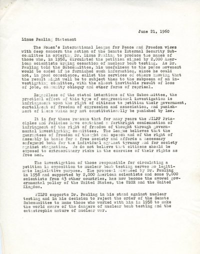 """Linus Pauling Statement."" Page 1. June 21, 1960"