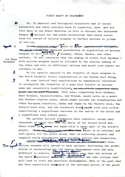 """""""First Draft of Statement.""""Page 1. May 2, 1961"""
