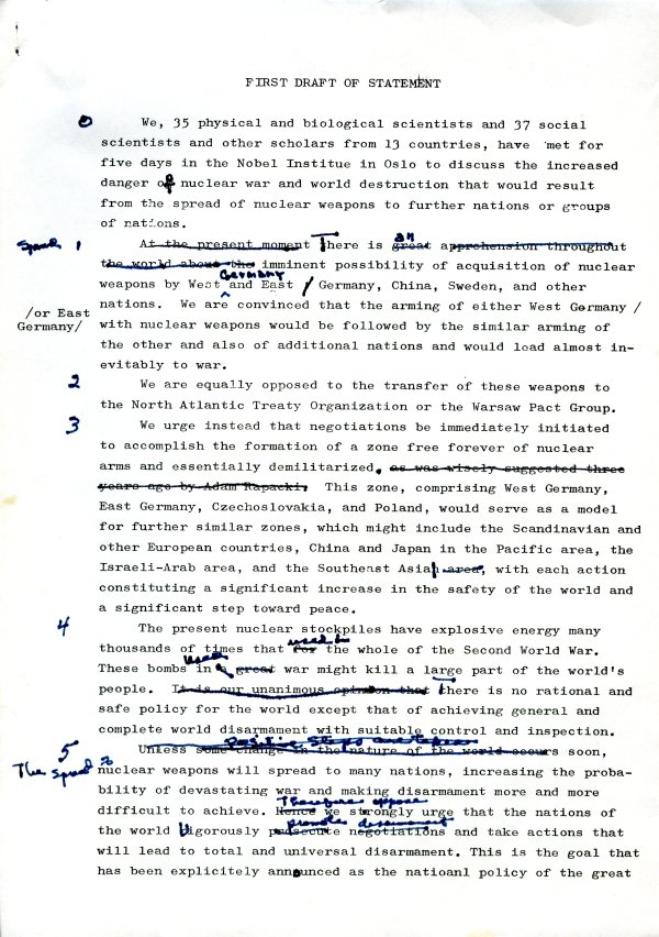"""First Draft of Statement."" Page 1. May 2, 1961"