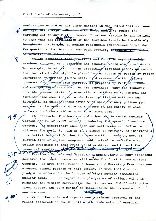 """First Draft of Statement."" Page 2. May 2, 1961"