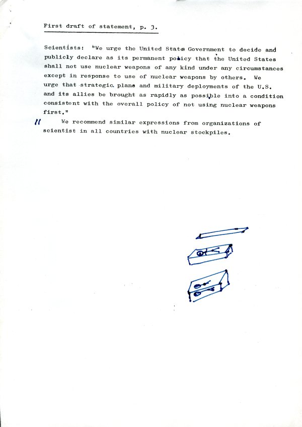 """First Draft of Statement."" Page 3. May 2, 1961"